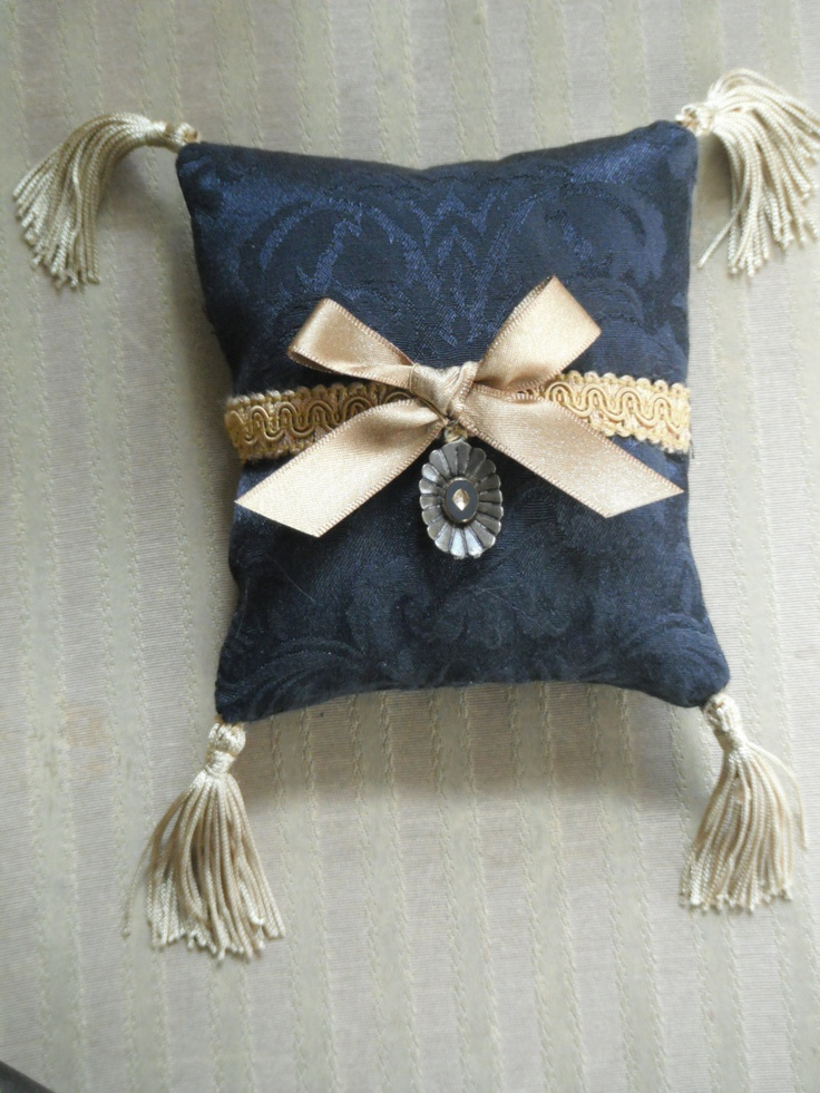 Period Inspired Black Damask Lavender Sachet with Gold Ribbon and Trim. $25.00, via Etsy.