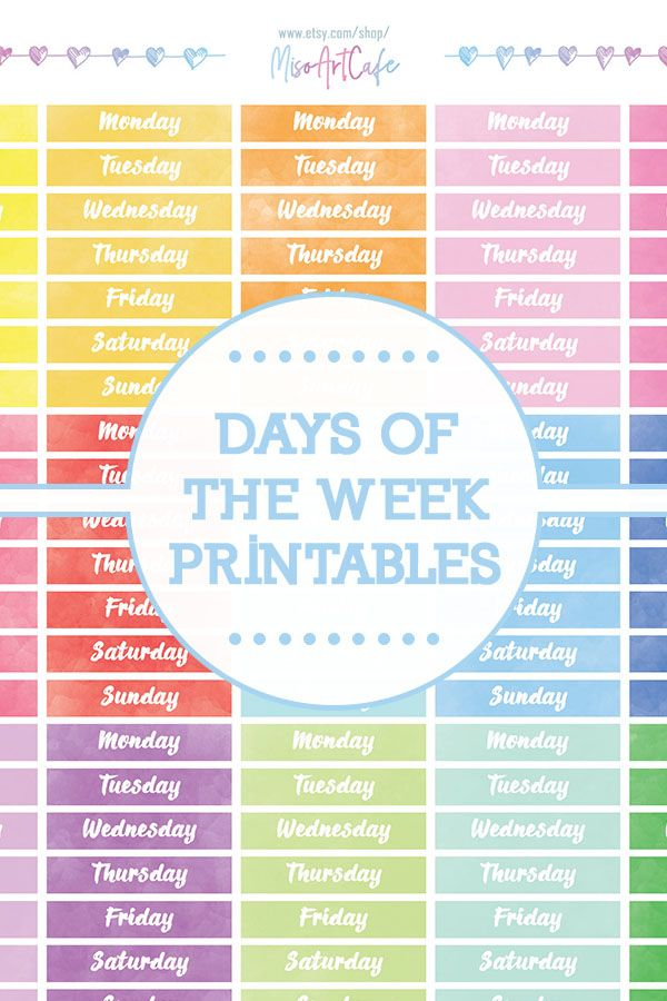 Pretty Seafoam Green Days of the Week Printable Planner Stickers Stickers Digital Instant Download Stickers Dots Days of the Week Stickers