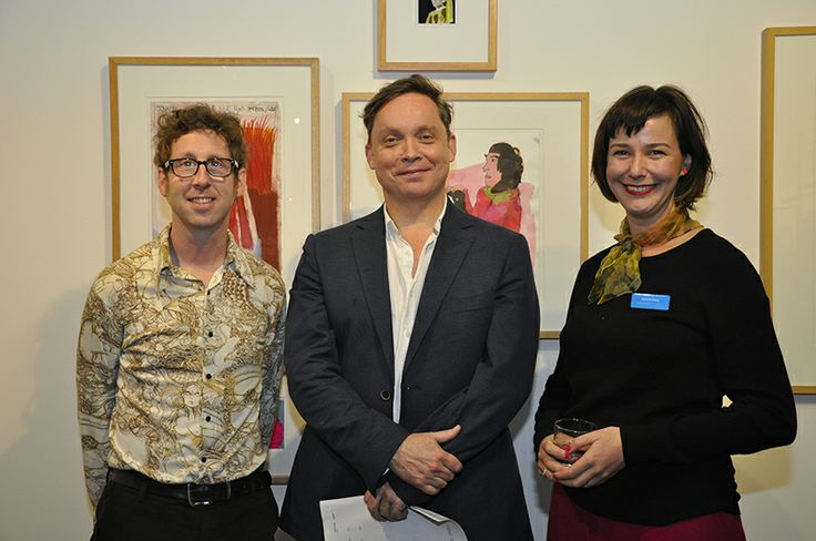 'Into the Vault and Out of the Box' curated by James McDonald  Elyss McCleary at Arts Project Australia, Melbourne. Opening of 2014 Historical Exhibition. (Pictured: NGV director Tony Ellwood with curators James McDonald and Elyss McCleary).