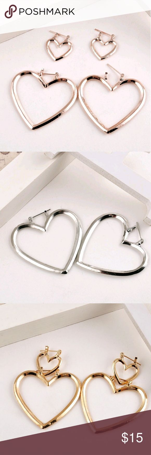 ANY 4 PAIRS FOR  $15! Double Heart Earrings These come 2 pairs in 1 set! Larger heart earrings & smaller heart earrings. Avail in Silver, Gold or Rose Gold. They are priced great! Bundle & save on shipping! Choose Gold or Silver in Options. Once you add 4 pairs to your bundle, submit offer for $15 & it will be accepted! Gold stock# 144 Silver Stock # 244 Rose Gold Stock# 344 Jewelry Earrings