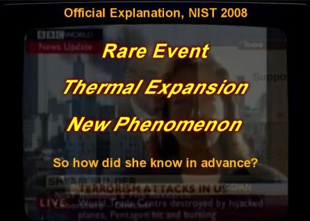Thermal expansion, that causes a nearby building to collapse 6 hours after the towers went down, exists in the minds of humans only. Was WTC7 struck by a directed energy weapon too? Or was there something left of it afterwards? Which of course would be different than the towers. There was very little left of them. They dustified real good.