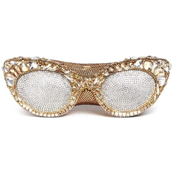 Judith Leiber 'Sugar Eyeglasses' crystal pavé minaudière (21.295 RON) ❤ liked on Polyvore featuring bags, handbags, clutches, metallic, summer handbags, white clutches, metallic handbags, judith leiber handbags and metallic clutches