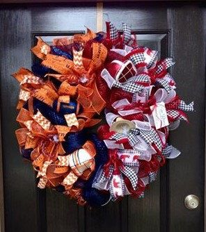 Auburn/Alabama House Divided Wreath by StudioWhimsybyBabs on Etsy https://www.etsy.com/listing/217338091/auburnalabama-house-divided-wreath