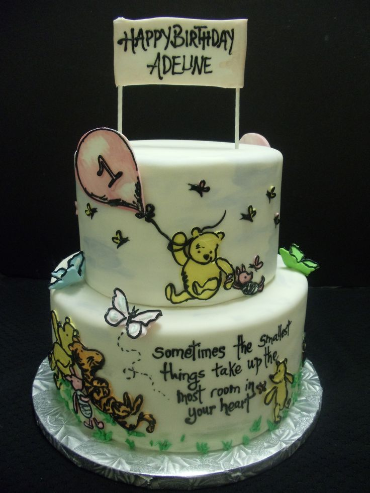 classic winnie the pooh birthday cake  hand painted classic winnie the pooh  tiered cake