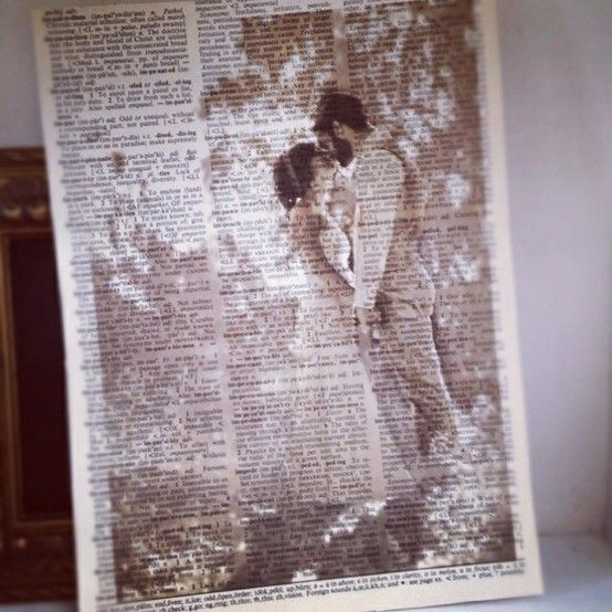 Print pictures on old book pages. Looks amazing!