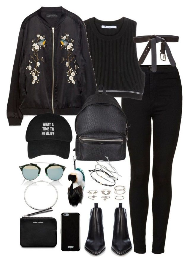 Untitled #2076 by ritavalente on Polyvore featuring polyvore, fashion, style, T By Alexander Wang, Zara, Topshop, Acne Studios, Yves Saint Laurent, Charlotte Russe, Eddie Borgo, Maison Margiela, Givenchy, Christian Dior, Fendi and clothing