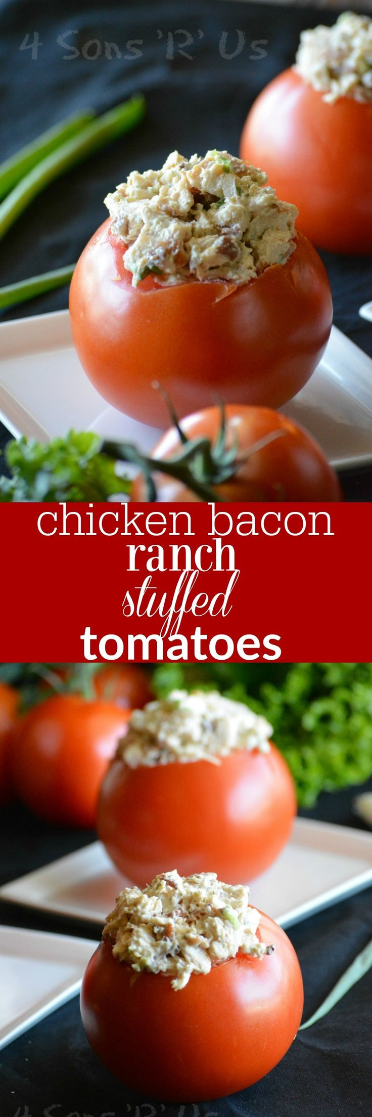 A lightened up chicken salad featuring the perfect trio of chicken, bacon, and ranch is stuffed into juicy, vine-ripened tomatoes. These Chicken Bacon Ranch Stuffed Tomatoes are perfect for a filling lunch or even a light dinner, light on carbs but still totally satisfying and bursting with fresh flavors.