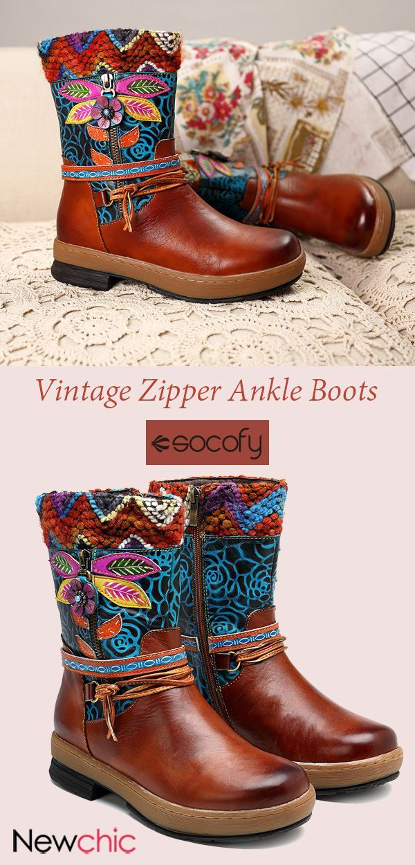 44ea874fb SOCOFY Vintage Hand Painted Genuine Leather Floral Pattern Stitching  Splicing Zipper Ankle Boots. socofy vintageboots