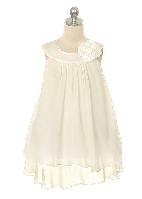 Ivory Chiffon A Line Girl Dress Flower Girls Bridal