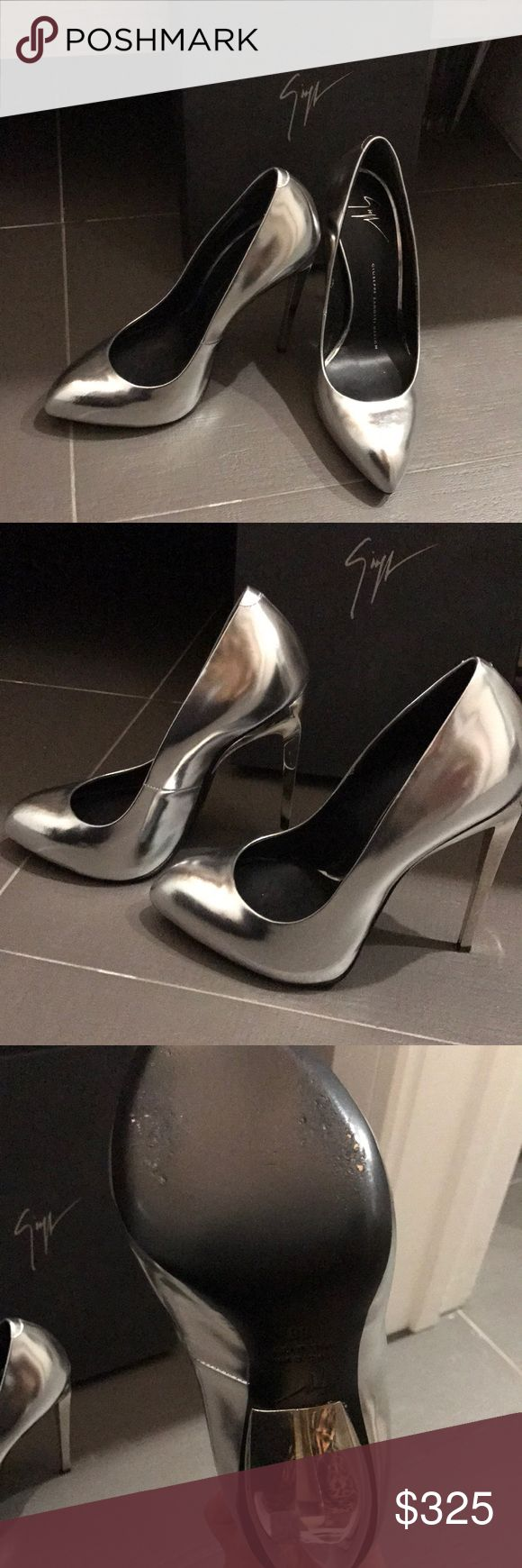 Giuseppe zanotti Must have! Beautiful high heel silver shoe will dress up any outfit. Will fit size 7 shoe Giuseppe Zanotti Shoes Heels #giuseppezanottiheelssilver #giuseppezanottiheelsoutfit