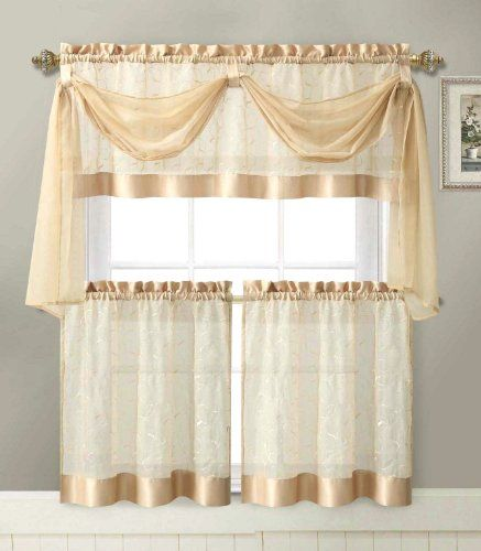 Nice Linen Leaf 4 Piece Embroidered Kitchen Curtain Set (Gold)