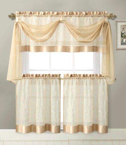 Beautiful Linen Leaf 4 Piece Kitchen Curtain Set By Victoria Classics (Gold)