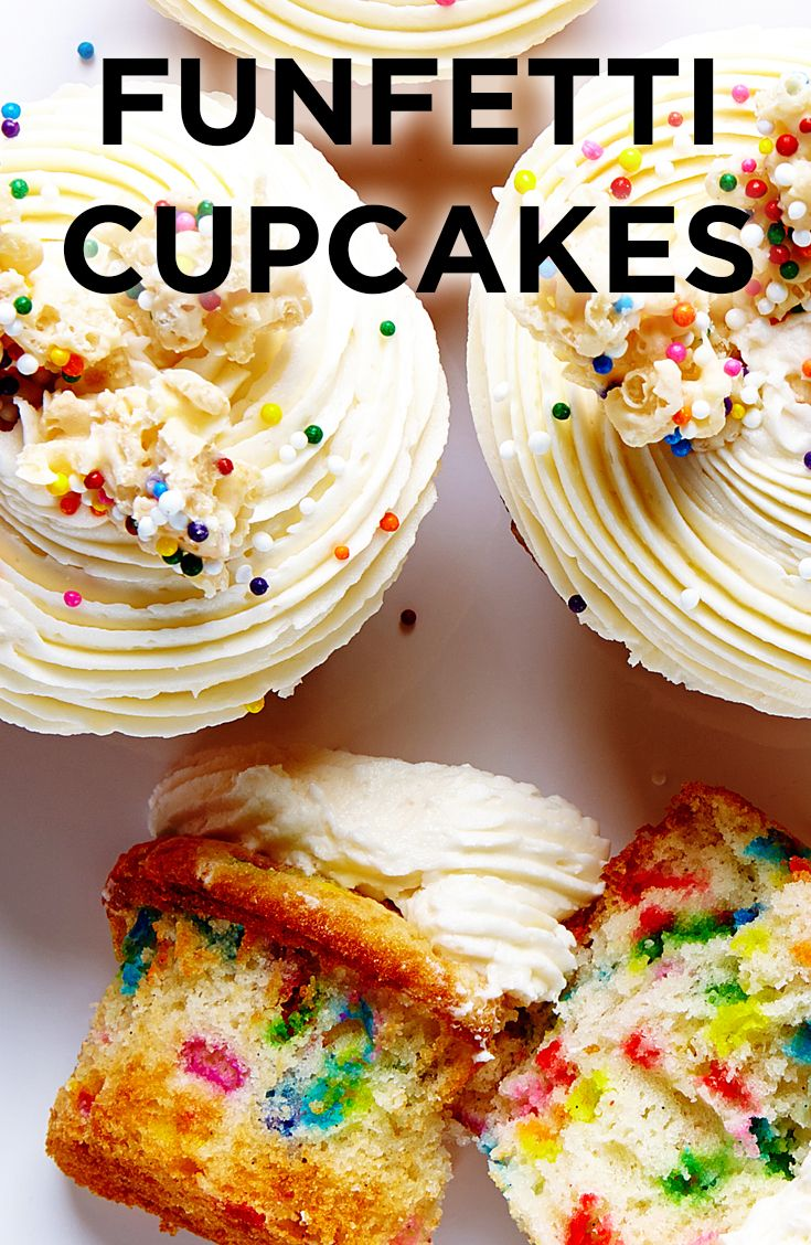 These Vanilla Funfetti Sprinkle Cupcakes are moist and flavorful (thanks, fresh vanilla beans!) sprinkle-studded cupcakes topped with creamy and smooth vanilla frosting and finished with homemade (and addictive) white chocolate Rice Krispie crunch.
