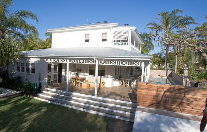 Little Palm at Atlantic Guesthouse Byron Bay. White timber beach house
