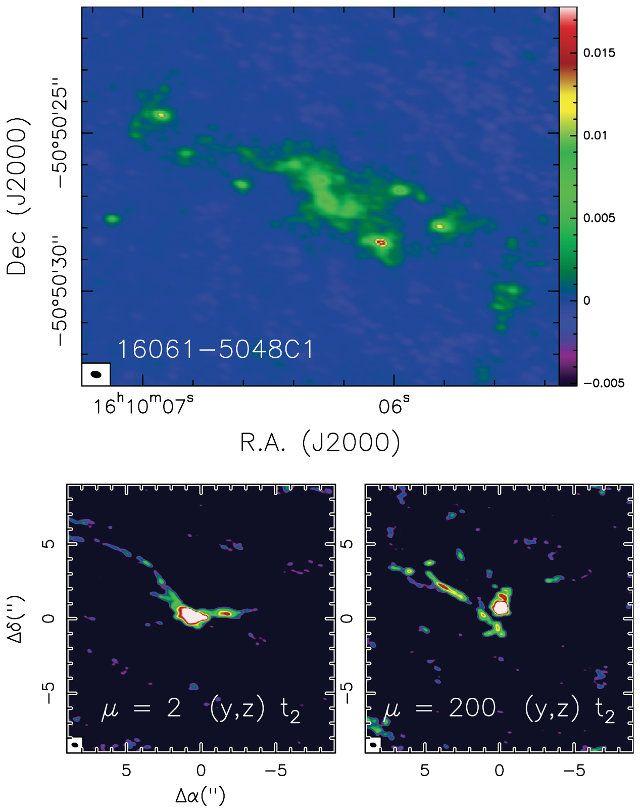 """Un articolo pubblicato sulla rivista """"Astronomy&Astrophysics"""" descrive una ricerca su una nube molecolare chiamata IRAS 16061-5048C1. Un team guidato da Francesco Fontani dell'INAF di Arcetri ha utilizzato il radiotelescopio ALMA per osservarne la frammentazione in grumi di materiali distribuiti lungo una sorta di filamento che potrebbero costituire gli embrioni di future stelle e probabilmente di sistemi solari. Leggi i dettagli nell'articolo!"""