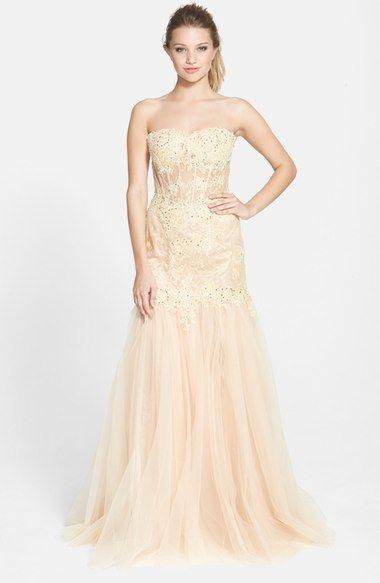 Mac Duggal Lace Illusion Bodice Mermaid Gown