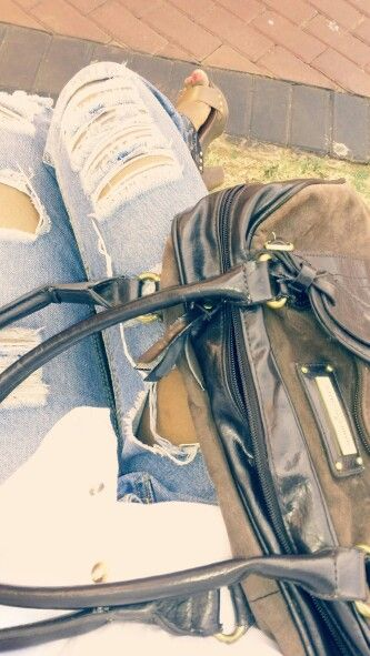 Torn jeans/brown cork sandals/DH handbag