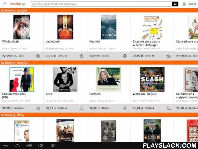 Merlin.pl  Android App - playslack.com , Aplikacja Merlin.pl umożliwia zakupy w jednym z najstarszych polskich sklepów internetowych. Zaloguj się i wyszukuj produkty pośród takich kategorii jak: książki, muzyka, film, gry i programy, zabawki, zdrowie i uroda, sport, moda, karma dla zwierząt. Skorzystaj z szerokiej sieci punktów odbioru i odbieraj zakupy za darmo! Obecna wersja jest wersją BETA, dlatego nie wszystkie funkcjonalności mogą działać idealnie. Zapraszamy do kontaktu.