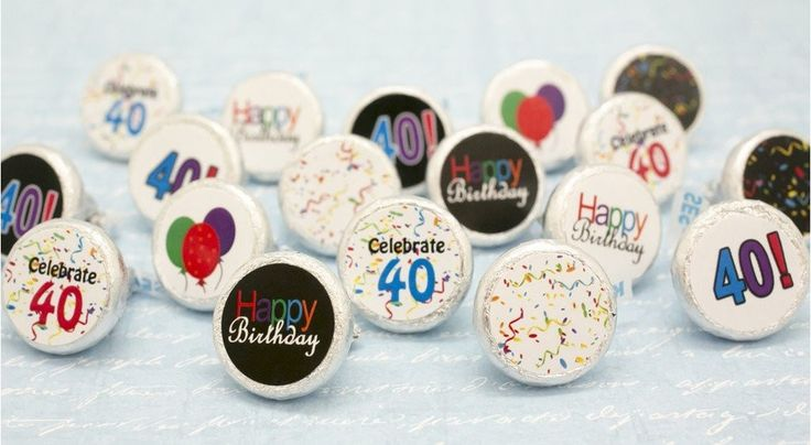 Happy 40th Birthday Sticker Decorations for Hershey Kisses (Set of 324)