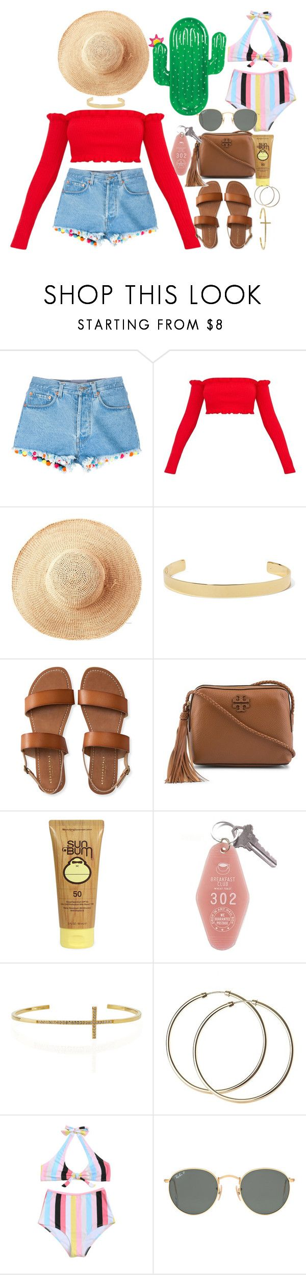 """Tropical Vacation!"" by valerienwashington ❤ liked on Polyvore featuring Forte Forte, Toast, Jennifer Fisher, Aéropostale, Tory Burch, Sun Bum, Tai, Ray-Ban and West Elm"