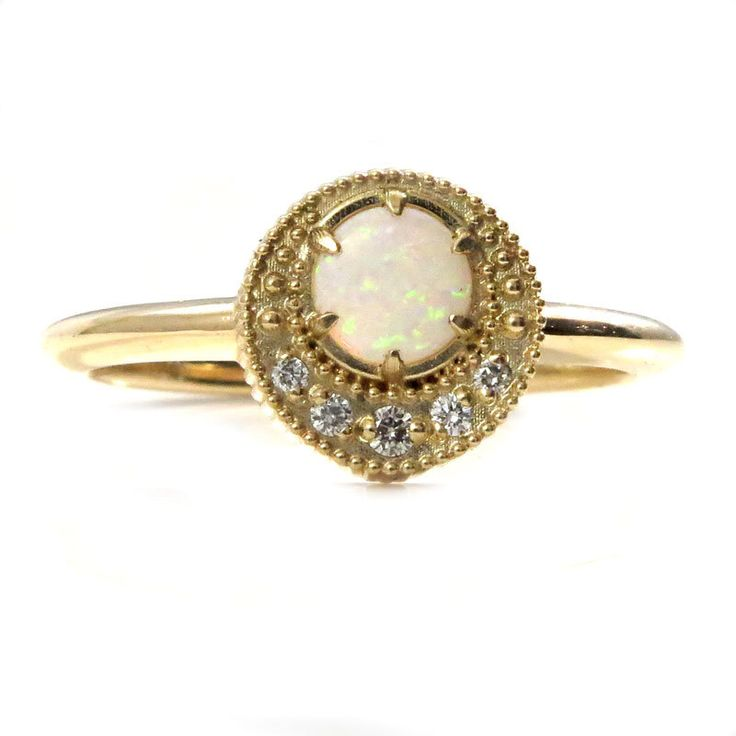 Opal and Diamond Mini Crescent Moon Ring - 14k or 18k Yellow, Rose or White Gold by SwankMetalsmithing on Etsy https://www.etsy.com/listing/476371887/opal-and-diamond-mini-crescent-moon-ring