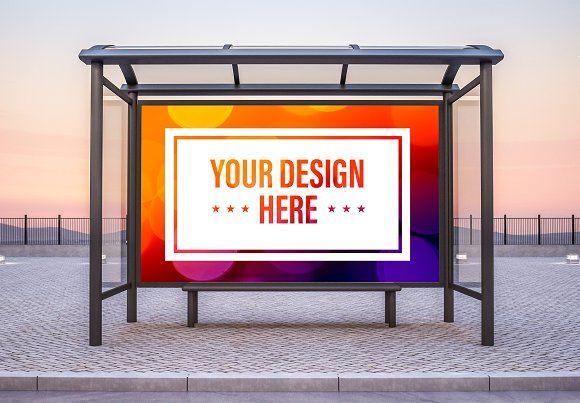 Bus Shelter Billboard Mockup Halftone Design Instagram Banner Unique Business Cards