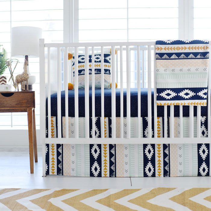 Aztec Crib Bedding | Baby Boy Bedding | Navy and Gold Nursery