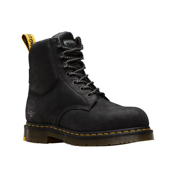 Dr. Martens Hyten EH 7-Tie Steel Toe Boot (£100) ❤ liked on Polyvore featuring shoes, boots, work boots, waterproof steel toe boots, waterproof boots, waterproof leather boots, black steel toe boots and steel toe boots