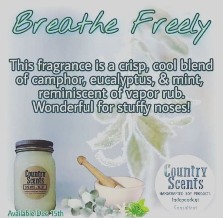Do you absolutely hate getting sick?  This scent helps with the stuffy nose  It also makes the house smell wonderful!  This scent is available in candles,melts, and aroma beads.  #breathefreely #nocoldandflu #countryscents #candles #melts #aromabeads #soy #countryscentscandlesandsudswithkelly