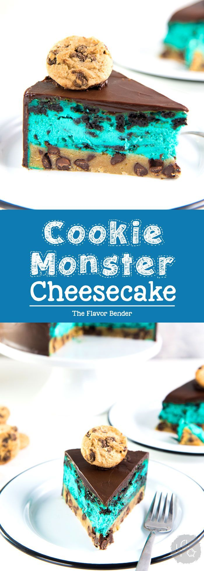 Cookie Monster Cheesecake - A fudgy chewy chocolate chip cookie blondie, topped with a creamy cookie and cream cheesecake loaded with Oreos and coated with a layer of chocolate ganache. Perfect dessert for cookie lovers. From the Secret Layer Cakes cookbo