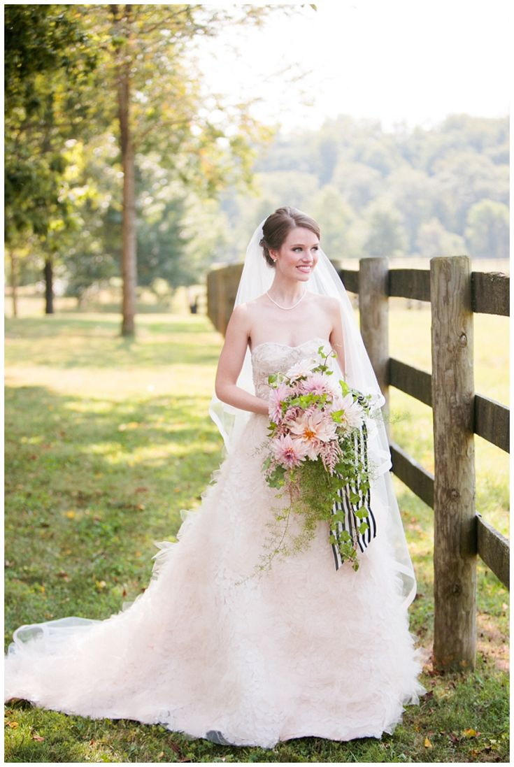 Bride In A Lazaro Wedding Dress
