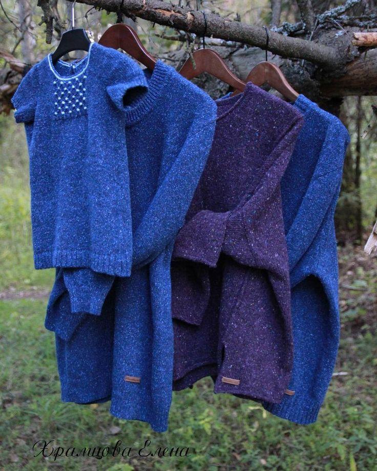 Твидовое семейство в полном составе Мужские пуловеры р-р XXL и L Твид WINWOOL art NEVADA 60% шерсть 20% шелк 20% ПА. Женский пуловер оверсайз из KNOLL YARNS MOHAIR TWEED (ТВИД-МОХЕР) 2720 GRAPE (виноград) 30% мохер, 70% шерсть мерино. Свободный крой, декоративные швы, боковые разрезы.  И туника для девочки Твид WINWOOL art NEVADA 60% шерсть 20% шелк 20% ПА. #elenakhra_knit #пуловер #мужской #женский #knitting  #casual #familylook