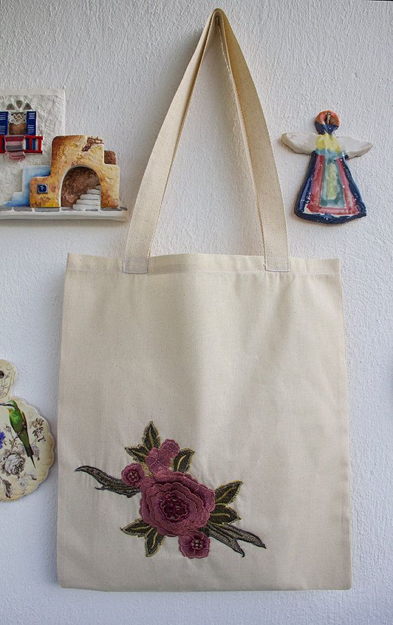 Cotton Tote Bag / Shopping bag / Cotton Bag one side is flowers applique   made in BODRUM, Turkey.  bag size 42cmx38cm. hanger length: 77cm