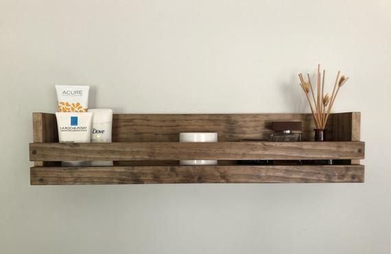 Bathroom Kitchen Floating Wooden Shelf Various Lengths Available