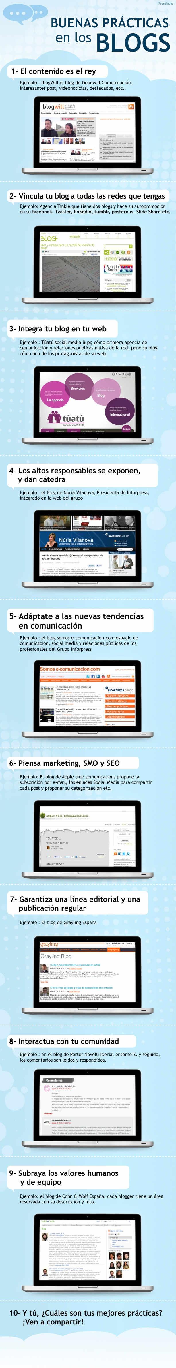 Infografía en español que muestra buenas prácticas en los Blogs.