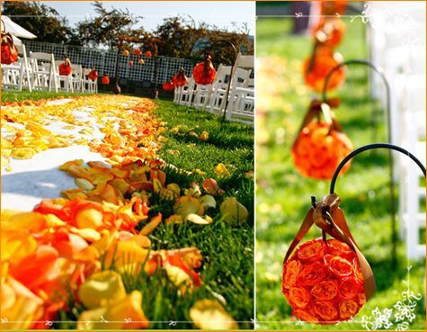 Orange and yellow petals line white aisle...love thisAisle Runners, Flower Ball, Orange Flower, Flower Design, Wedding Aisle, Aisle Flower, Wedding Flower, Fall Wedding, Green Wedding