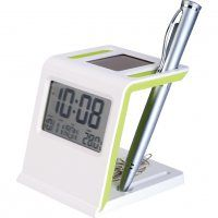 Such a cool eco friendly idea for a office desk caddy!  Solar powered digital clock with silicone trim.  Multi functional pen holder that doubles to hold paperclips, business cards and your mail.
