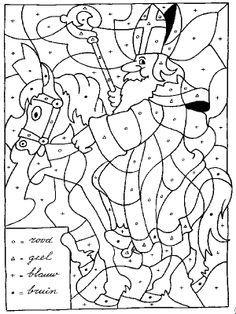 Sint op paard: kleuren op letter