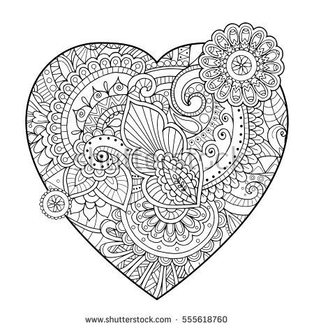Heart filled with zentangle floral ornate pattern Passion