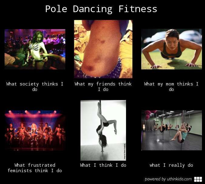 Pole dancing fitness, What people think I do, What I really do meme image - uthinkido.com