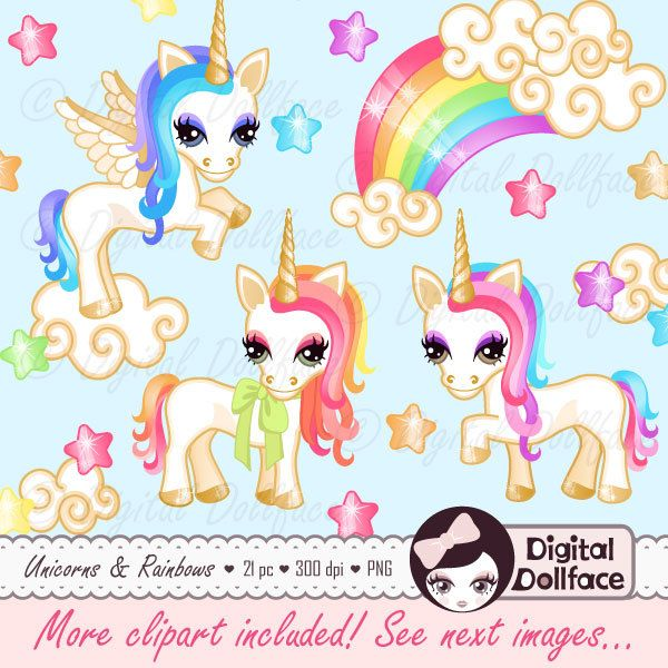 Pony / Unicorn Clipart Printable Rainbow by DigitalDollface