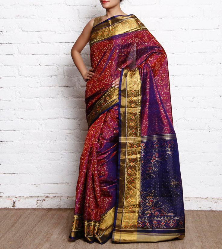 Purple & Dark Magenta Pure Silk Patola Saree