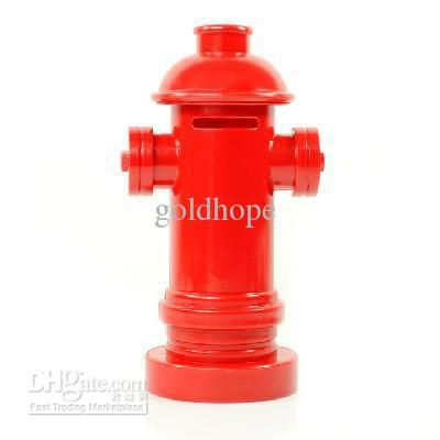 Wholesale Red fire hydrant shaped Coin Money bank