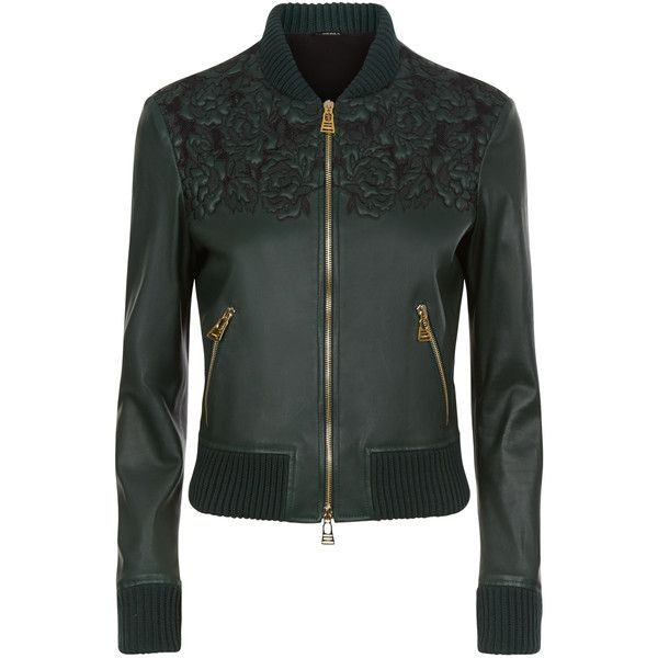 La Perla Leather Dark Green Lambskin Leather Bomber Jacket With... ($3,940) ❤ liked on Polyvore featuring outerwear, jackets, intimates, zipper jacket, floral bomber jackets, leather flight jacket, floral-print bomber jackets and leather bomber jacket