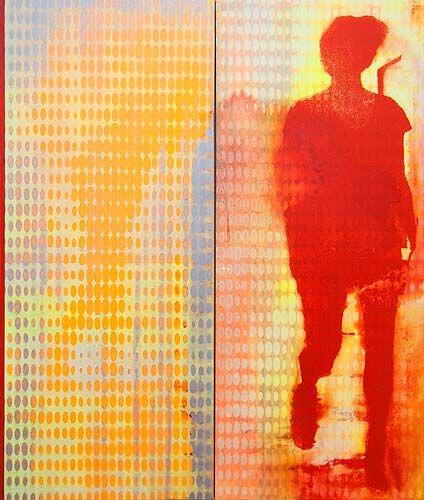 Robert Boynes, 'Causeway' 2013, acrylic on canvas - diptych, 120 x 101cm