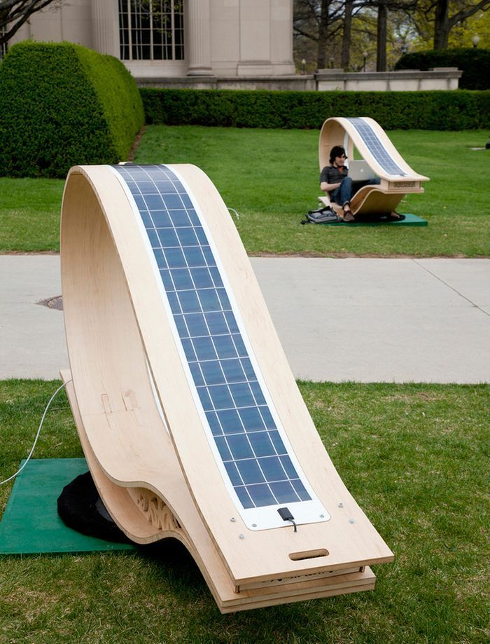 Solar lounge chair lets you recharge your laptop or phone out in the garden