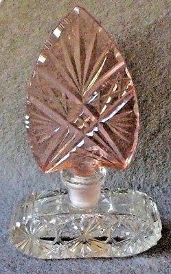 Signed-Vintage-Intaglio-Cut-Crystal-Perfume-Bottle-Czechoslovakia-1930-039-s-MORLEE