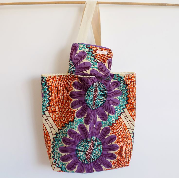 Colorful bag and purse, handmade in Italy with real wax cotton fabric