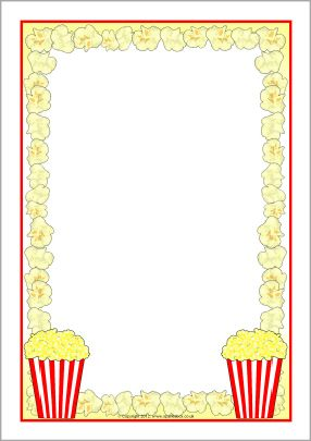 Popcorn A4 page borders (SB8252) - SparkleBox                              …