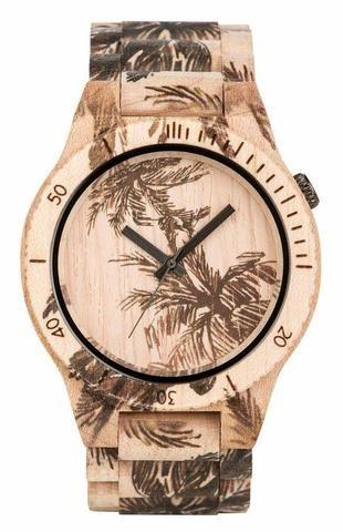 Wooden Watch Allium Print Palm Beige